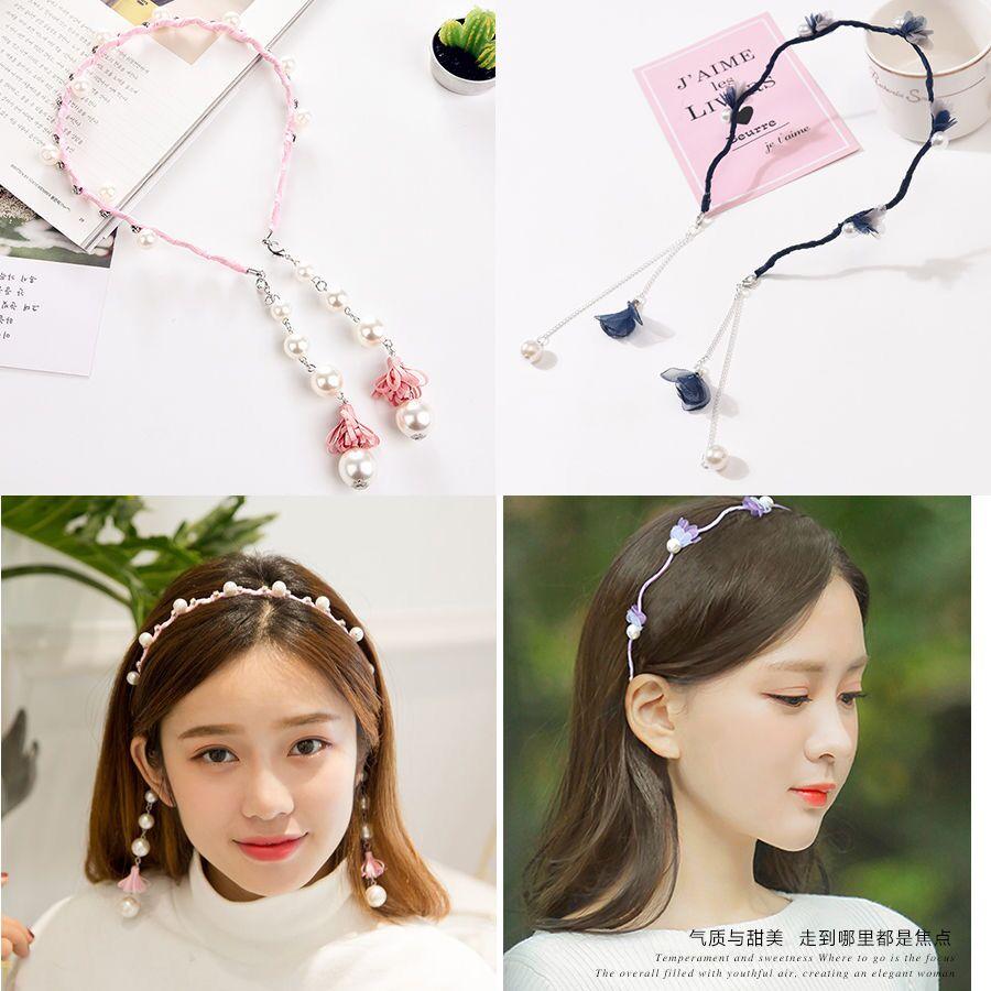 Buy 2 free 1 Korean hairband female fake Earrings tassel hairpin sweet water drill collar hairpin hairpin headornament headdress Headband