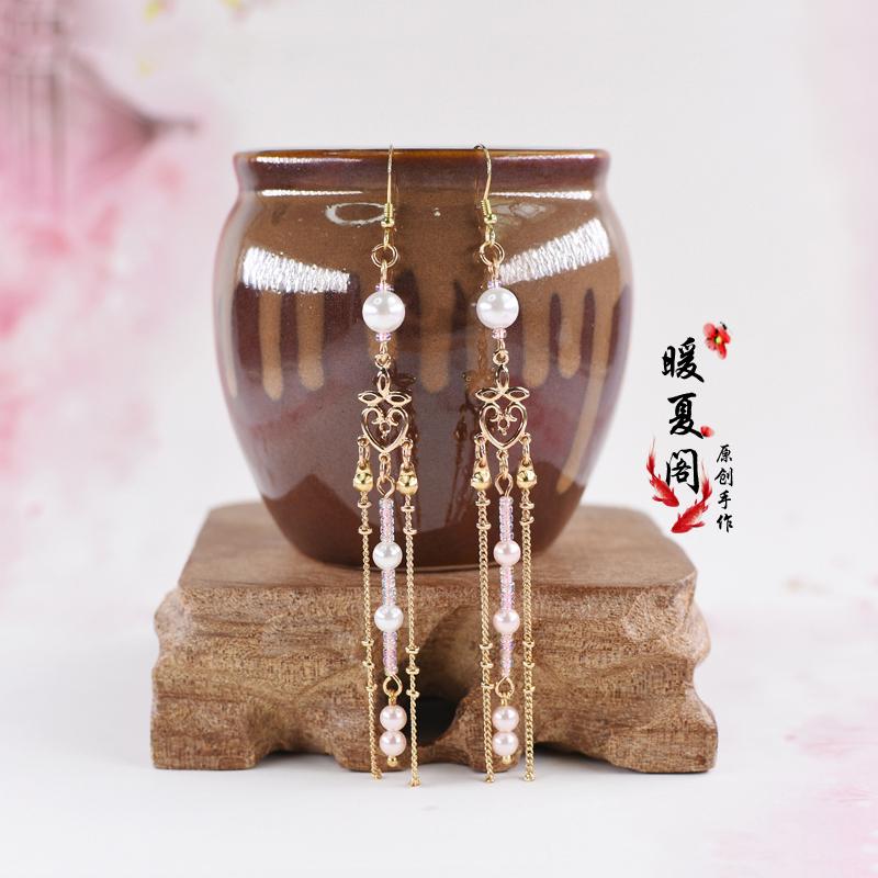 Warm summer Pavilion daily antique cos Hanfu butterfly lotus Tassel Earrings 925 Tremella Hook Set Earrings Collection 2
