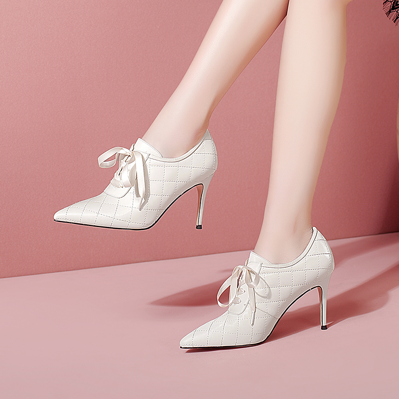 Leather pointed high heels thin heel lace up deep mouth single shoes versatile solid color and ankle boots cross strap womens shoes