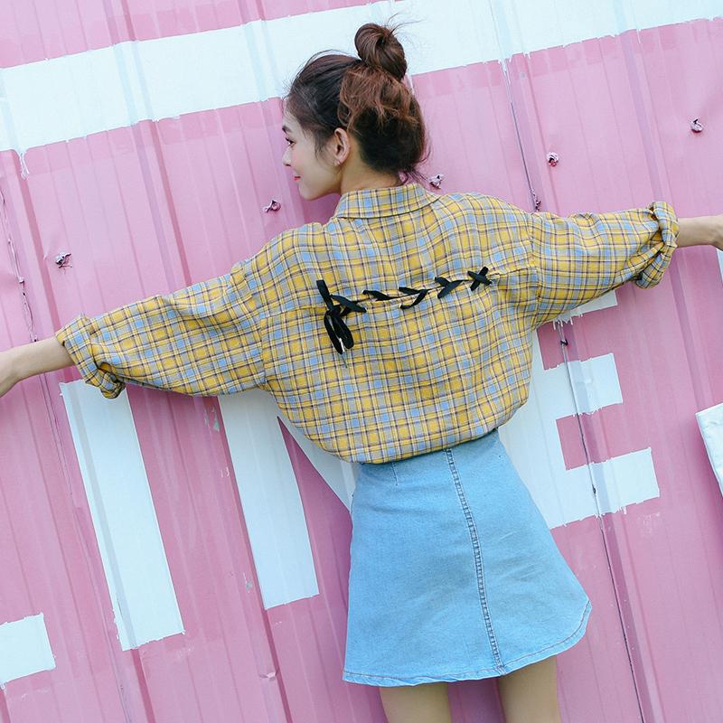 春秋小清新格子衬衫女长袖韩范学生学院风宽松原宿灯笼袖衬衣外套