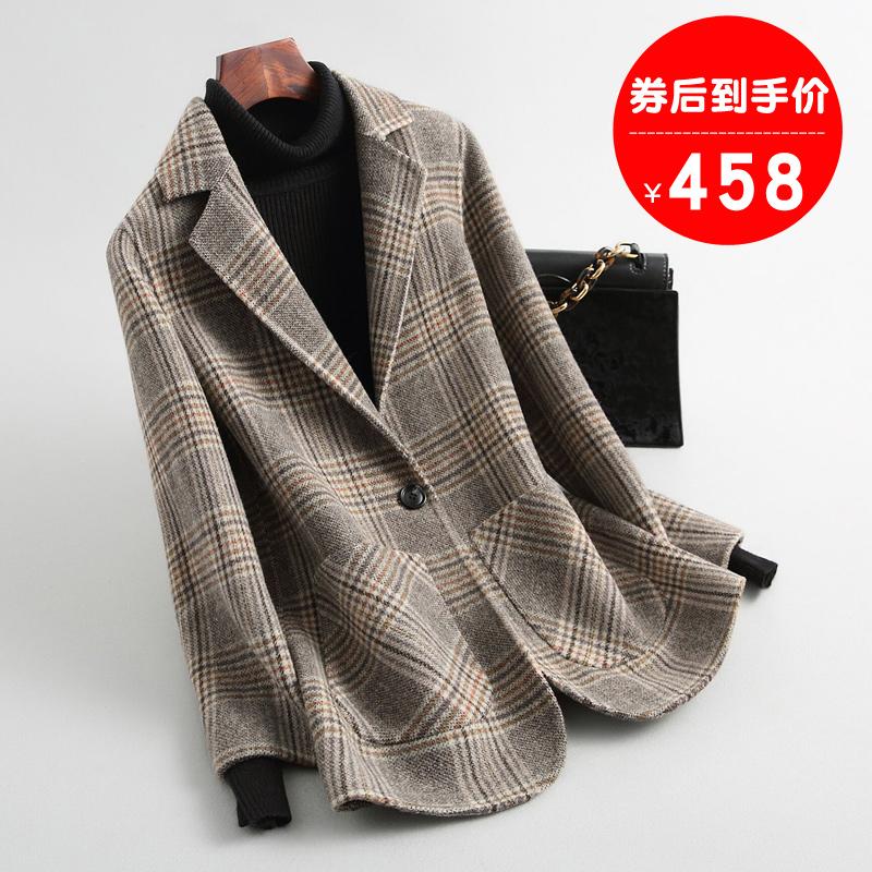 格子双面呢羊毛呢子外套中长款反季韩版2019新款零双面羊绒大衣女图片
