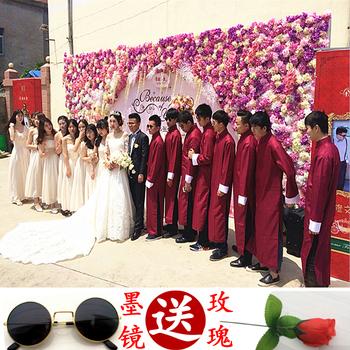 中式伴郎伴娘服男士长衫团结婚礼服