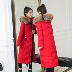 反季促销羽绒棉服女冬季中长款韩版修身大毛领过膝加厚棉衣女外套
