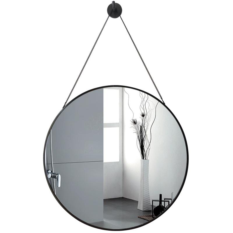 北欧新款圆形挂墙复古镜子免打孔贴墙洗澡梳化妆镜家用洗漱卫生间