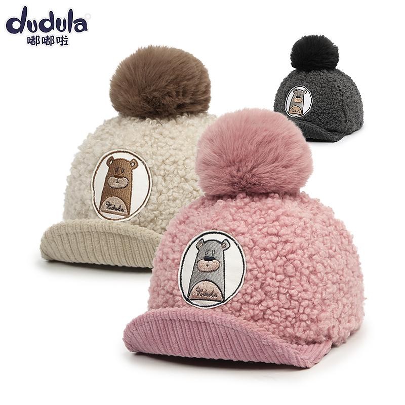 儿童棒球帽秋冬2-5岁男女童鸭舌帽子潮小孩翘舌遮阳帽宝宝毛呢帽