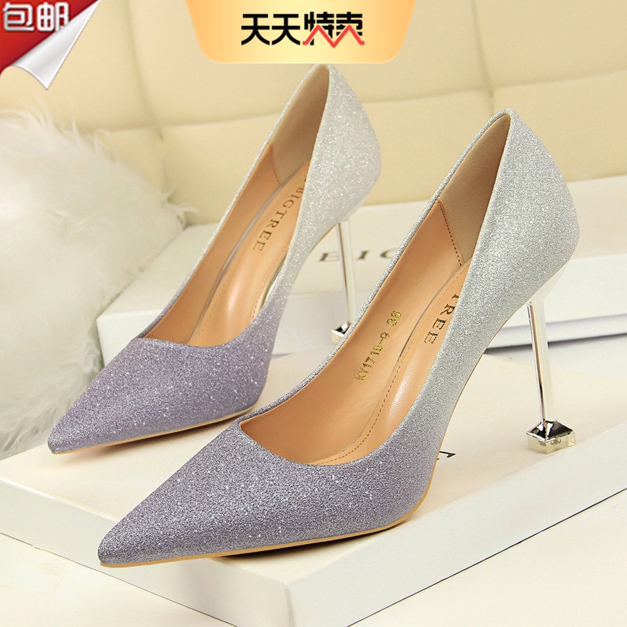 2020 Korean fashion thin heel high heel shallow mouth pointed color matching shiny color gradient sexy thin womens single shoes