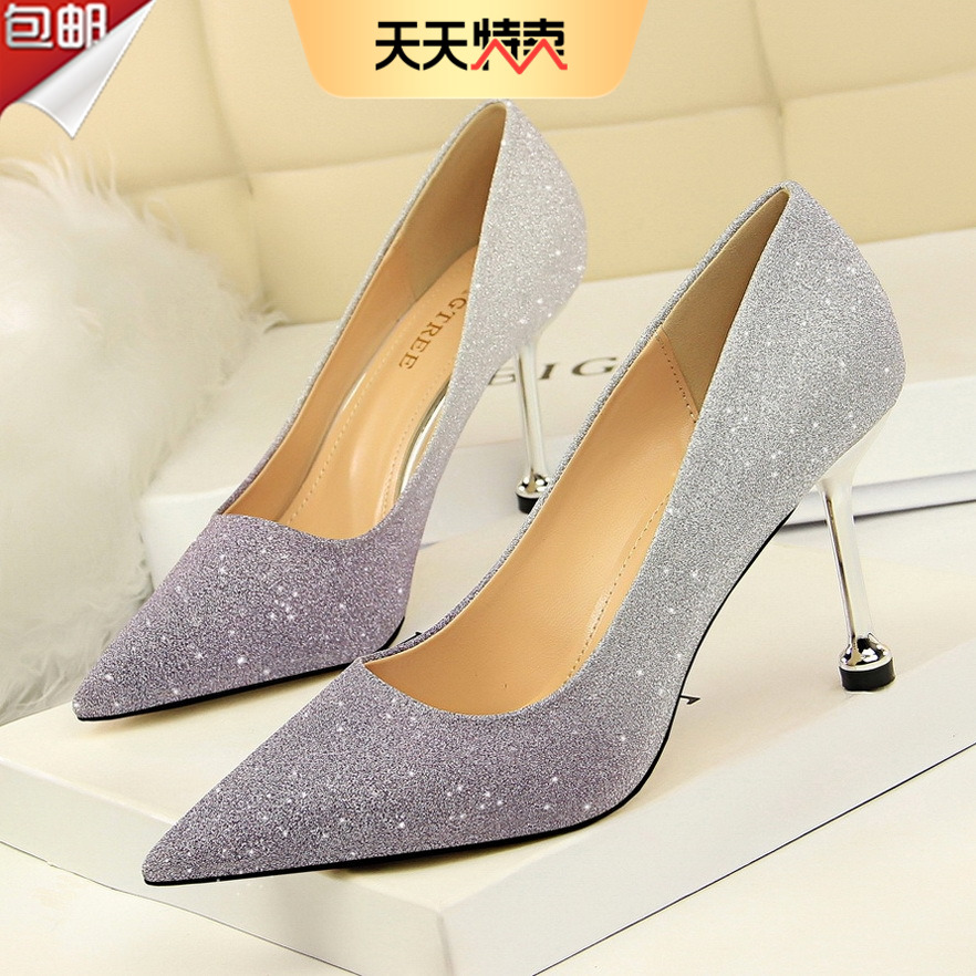 2020 Korean fashion thin heel high heel shallow mouth pointed shiny color gradient color matching single shoes high heel womens shoes