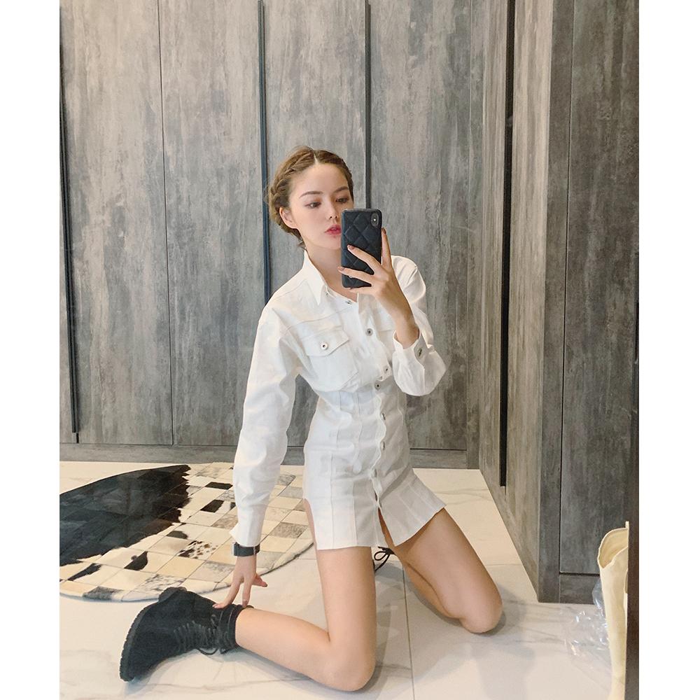 限10000张券汤元家sd白色牛仔长袖秋装女连衣裙