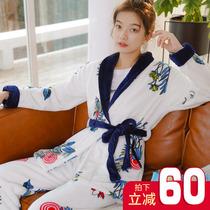 睡衣女冬季珊瑚绒长袖加厚秋冬家居服套装法兰绒新款两件套保暖