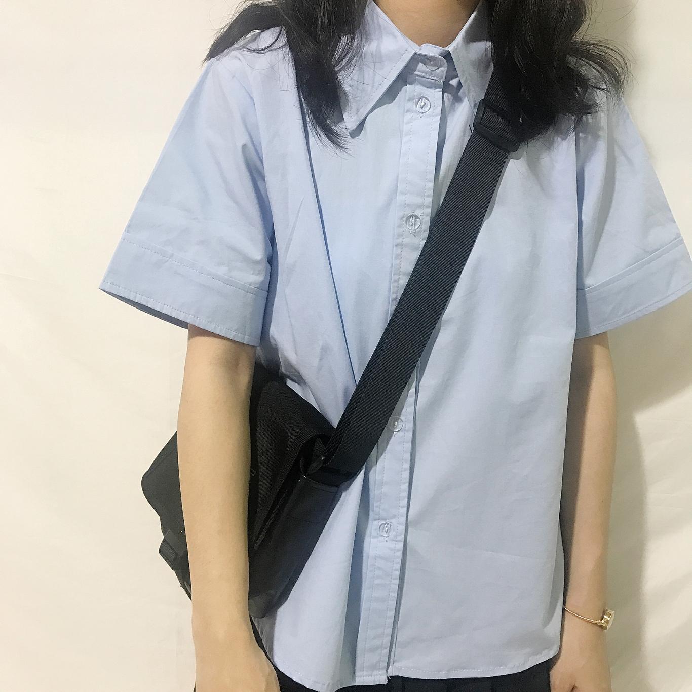 夏季2018纯棉蓝色尖领复古短袖衬衫女可爱日系少女学生衬衫jk百搭