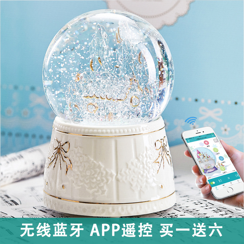 Snowflake crystal ball music box carousel octave box Bluetooth speaker girlfriend children's birthday Valentine's Day gift
