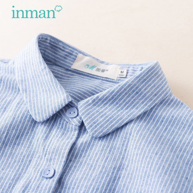 Yinman flagship store Stripe Shirt women's long sleeve 2020 spring new women's pure cotton bottomed top women's shirt