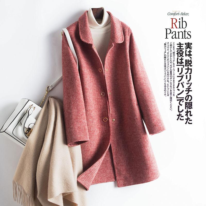 蒂克罗姆新款双面羊绒大衣女韩版宽松毛呢外套中长款显瘦双面呢