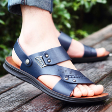 Summer leather sandals Men Tide 2019 new anti-slip soft sole wearing men's slippers Summer recreational beach sandals
