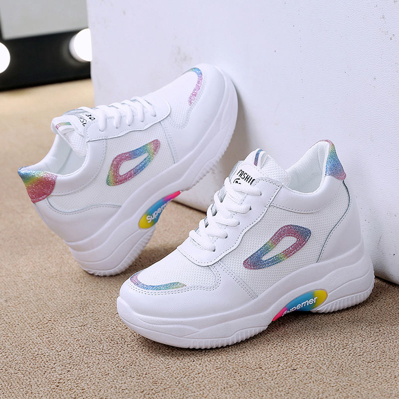 New style womens shoes heighten 2019 sports small white shoes thick sole versatile fashion travel shoes casual shoes 4