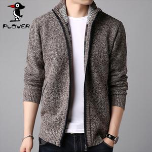 plover男装夹克男 韩版休闲立领外套男 秋冬季加绒加厚针织开衫