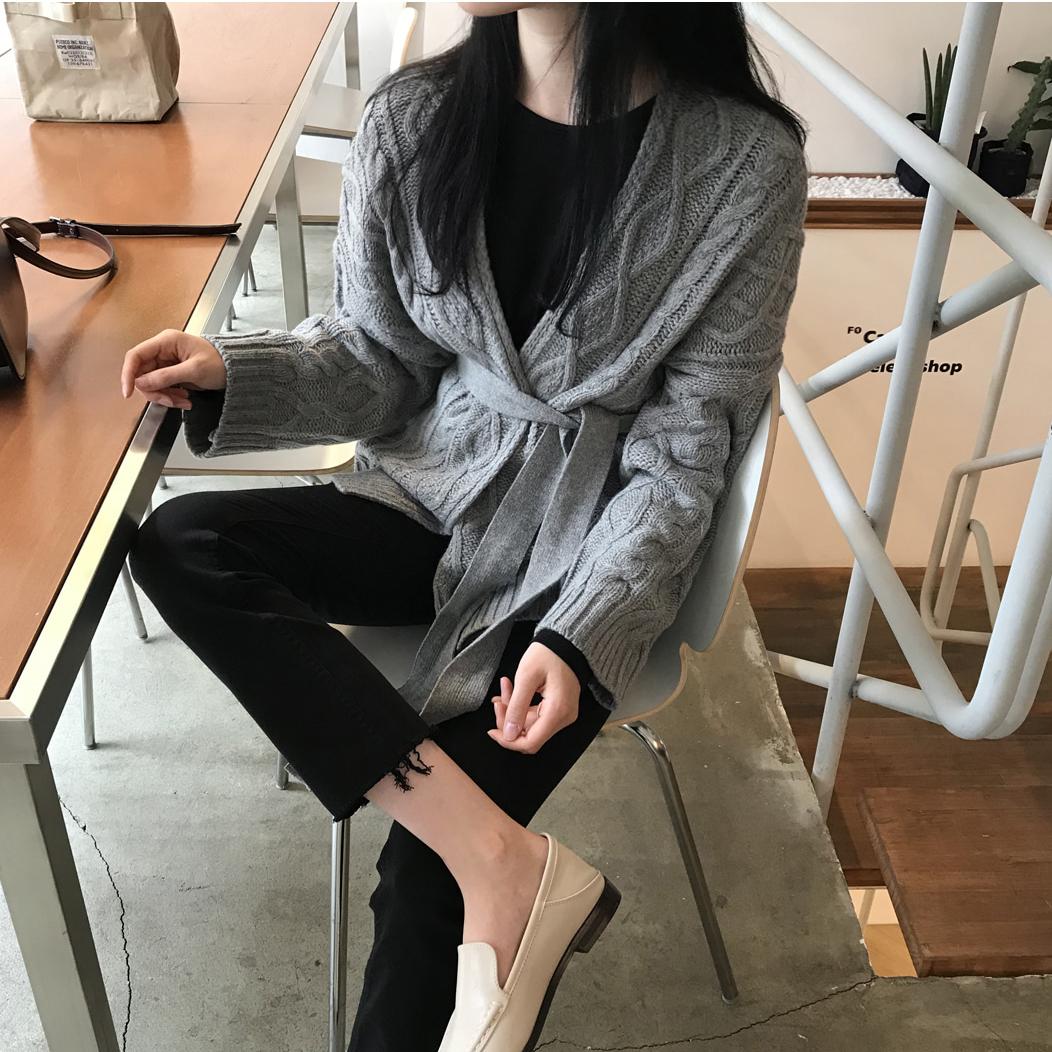韩国秋冬新款女装绑带束腰麻花纹中长款针织开衫慵懒宽松外套毛衣