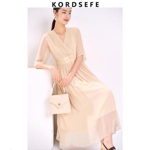 夏季新款绣花桑蚕丝甜美仙女连衣裙