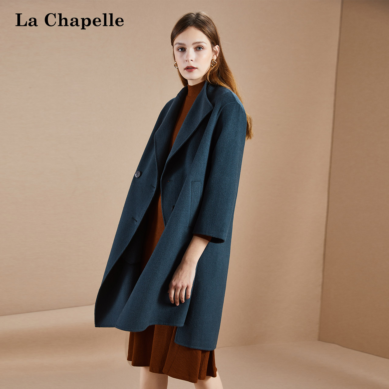 Lashabel Korean double breasted woolen coat women's winter loose popular wool fashion coat women's medium length