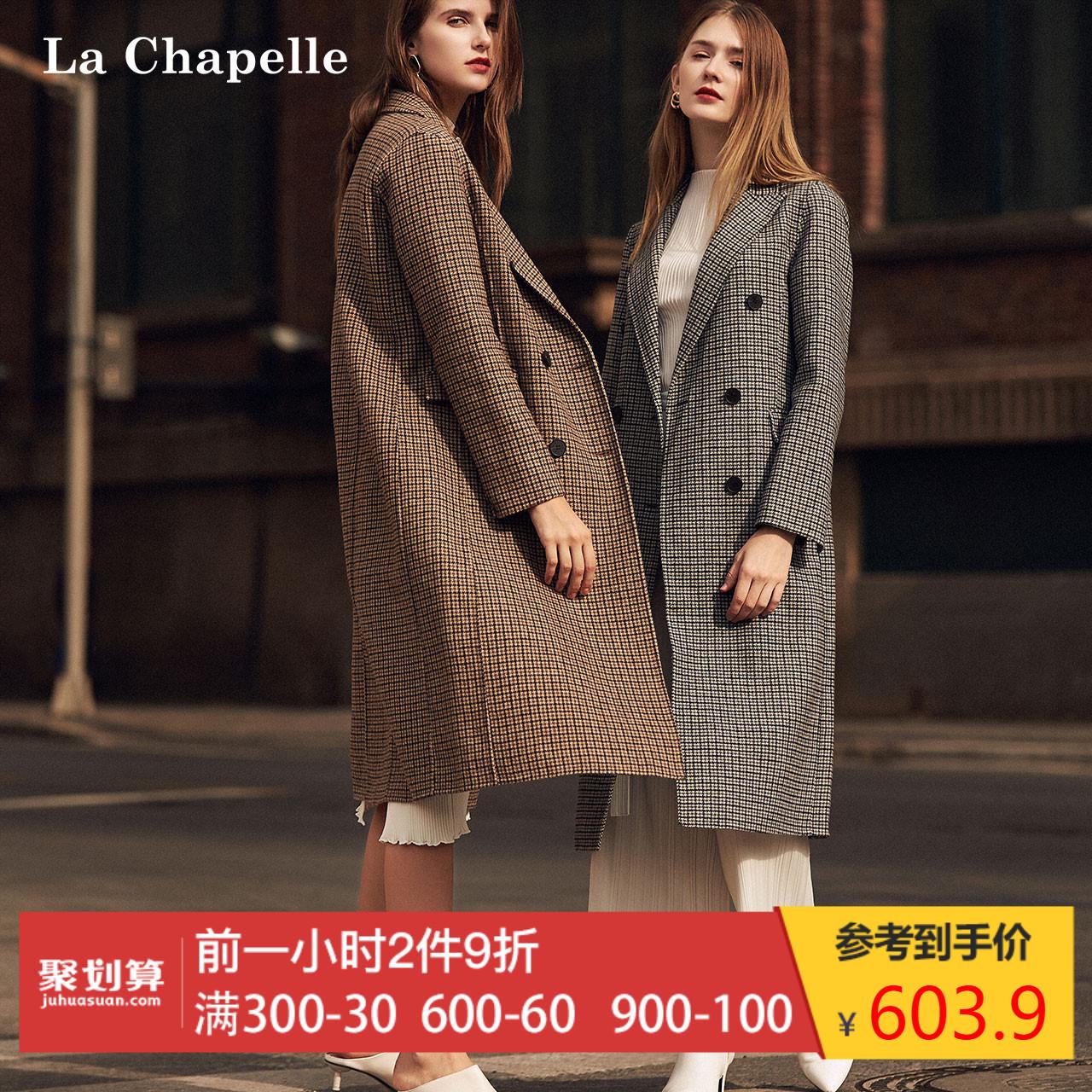 羊毛格子毛呢外套女士2018冬季新款复古双面呢外衣中长款呢子大衣