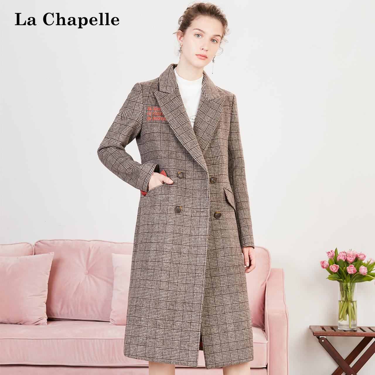 格子呢子大衣女2018冬季新款英伦赫本流行时尚中长款羊毛毛呢外套