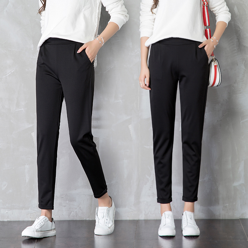 西装裤宽松直筒九分百搭休闲黑色高腰显瘦夏季薄款哈伦裤子女春秋