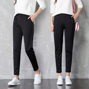 哈伦裤女裤2020新款宽松小脚萝卜直筒九分休闲黑色西装春秋夏薄款
