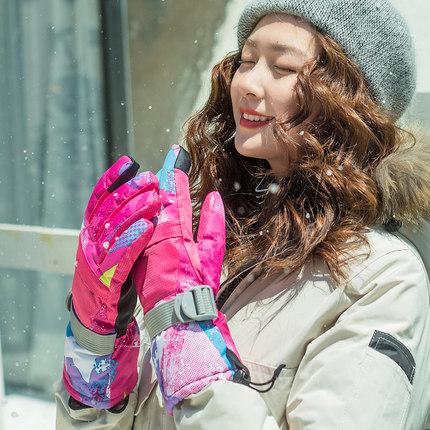 手套女冬保暖加厚棉手套可爱户外骑车手套男冬防寒风防水滑雪手套