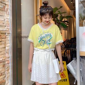 控5~實拍實價~韓版百搭小清新蕾絲花邊印花T恤+花苞松緊短裙套裝