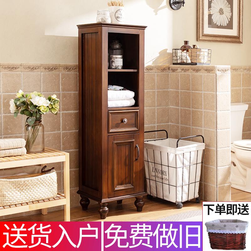 Шкаф для ванной сторона Кабинет Американский массив из массива дерева Европейский дубовый пол узкий Шкаф для хранения шкафа высокая кабинет