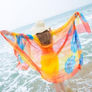 丝巾女夏沙滩巾超大百搭空调披肩夏防晒长款海边沙滩纱巾围巾两用