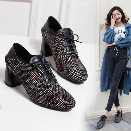 春夏女士高跟真皮深口单鞋女欧美2018圆头系带粗跟格子两穿女鞋穿