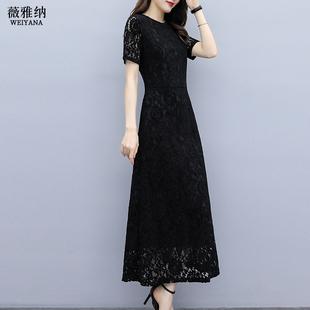 长裙打底蕾丝小黑裙连衣裙郝本风 夏季 大码 黑色裙子女装 2020年新款