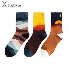 2020新款秋冬袜子潮流山川涂鸦全棉多彩个性时尚中筒男女袜情侣袜