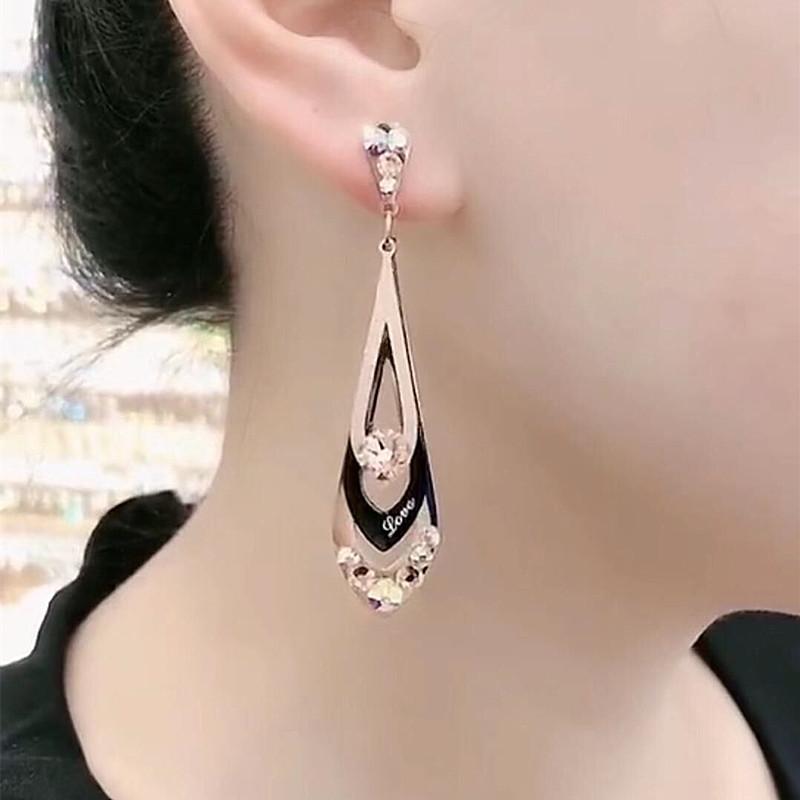 韩国气质三层菱形磨砂钛钢长款耳环女百搭显脸瘦的耳坠网红耳饰品