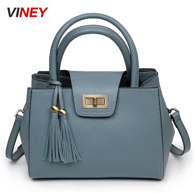 Viney抢2018新款欧美时尚牛皮气质手提包斜跨包牛皮女包单肩包