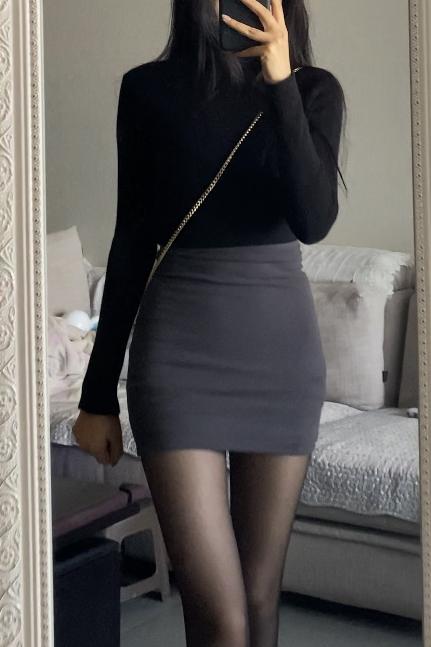 enen 夏季可穿!包臀短裙女弹力显瘦紧身修身性感辣妹高腰半身裙