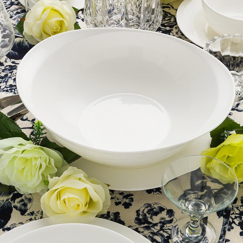隆達骨瓷 純白大湯碗11英寸OVA碗 雙耳防燙陶瓷湯盆大號