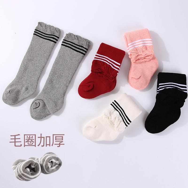 婴儿袜子春秋季薄棉高长筒宝宝过膝0-1岁月3加绒棉6幼儿童