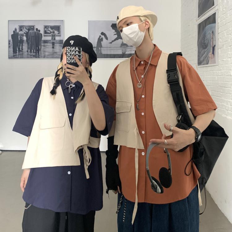 妈个鸡妈 韩国ins日系复古两件套宽松工装马甲纯色短袖衬衫男女潮