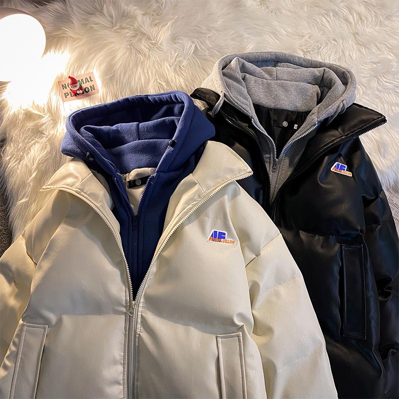 假两件男春季韩版宽松pu皮连帽棉服使用评测