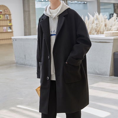 2021春季新款毛呢大衣男中长款风衣韩版潮流外套百搭痞帅气上衣服