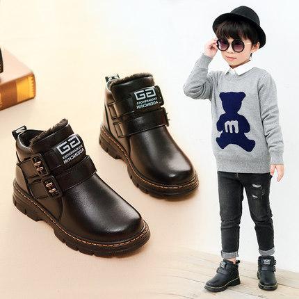 男童棉鞋2018新款冬季儿童二棉鞋加绒加厚皮鞋保暖冬鞋童鞋男鞋子