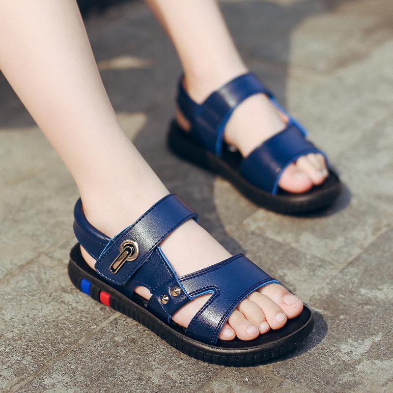 男童凉鞋2018新款夏季韩版潮中大童学生真皮儿童鞋男孩宝宝沙滩鞋