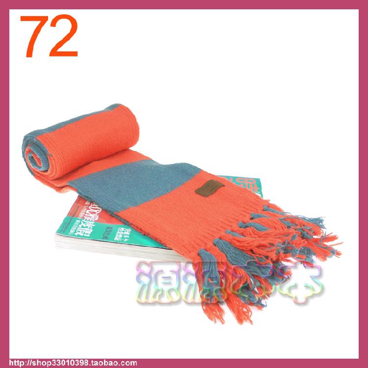 欧美外贸原单 橙蓝色条纹带穗 细羊毛秋冬长款 厚实保暖围巾围脖