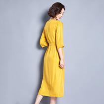 宽松重磅真铜氨丝收腰连衣裙女夏新款真丝大码七分袖妈妈装长裙