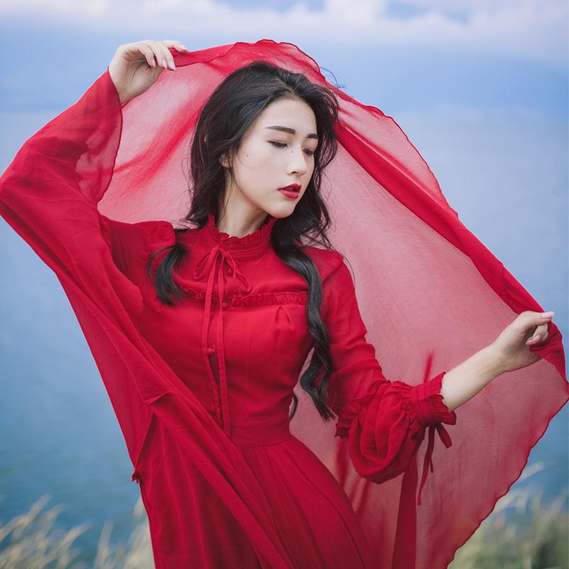 正品保证初秋民族风红色雪纺连衣裙茶卡盐湖旅游裙子草原沙漠拍照好看长裙
