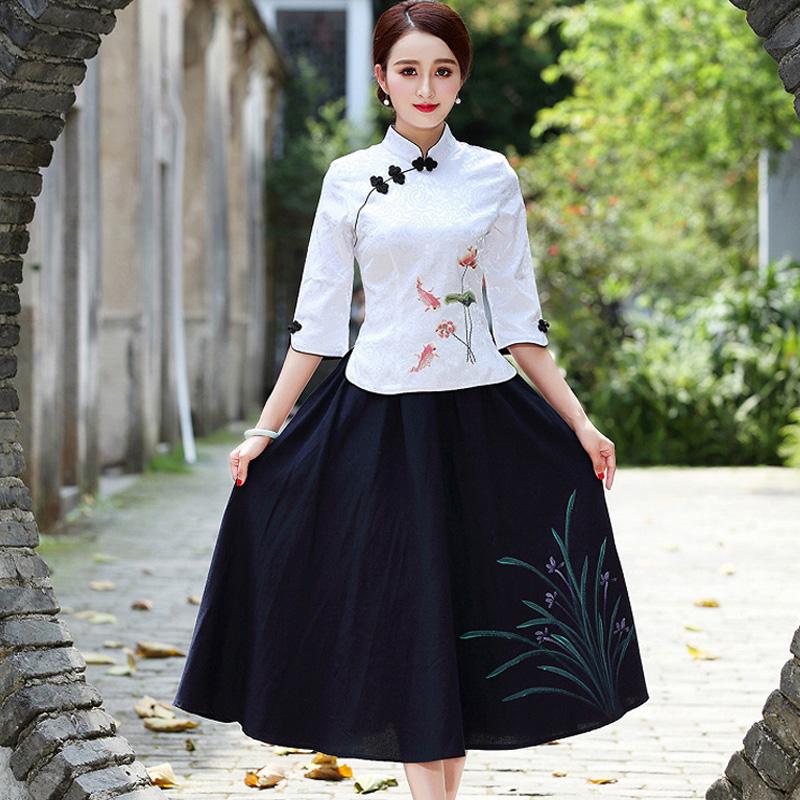 民国风女装唐装改良旗袍上衣中国风古装服装复古盘扣棉麻茶服套装