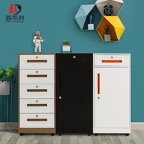 钢制活动柜三抽单门储物柜办公桌下小推柜带锁铁皮移动矮柜文件柜