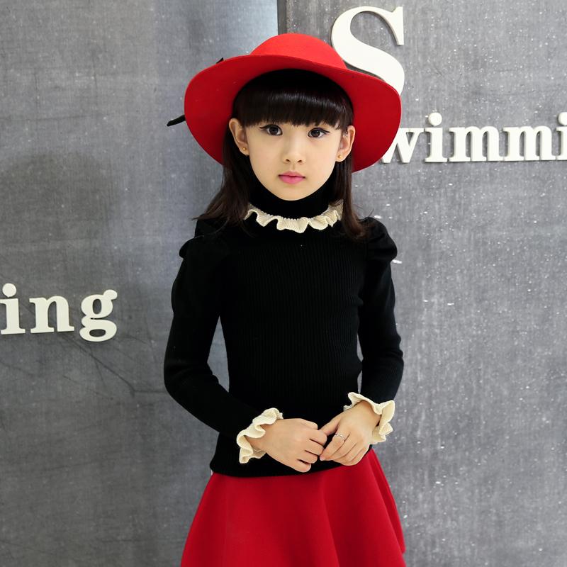 兒童女童套頭打底高領毛衣